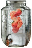 Circleware 67052 Sun Tea Mason Jar Beverage Dispenser with Fruit Infuser, Ice Insert and Metal Lid, Entertainment Glassware Water Pitcher for Juice, Beer & Cold Drinks, Huge 2 Gallon, Yorkshire