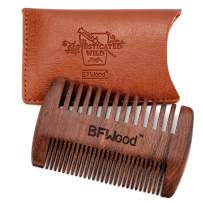 BFWood Mustache Pocket Comb – Wood Comb with Leather Case