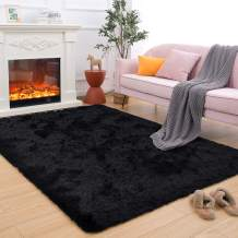 Maxsoft Fuzzy Rugs for Living Room, Black Shag Area Rugs for Bedroom, 3.9 x 5.9 Feet, Fluffy Room Carpets for Girls, Kids, Plush Furry Rugs for Nursery, Bedside, Floor