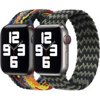 Girovo 2 Packs Solo Loop Strap Compatible with Braided Sport Apple Watch Band 42mm 44mm, Soft Stretchy Braided Wristband for iWatch Series 1/2/3/4/5/6/SE, Black Green & Rainbow, XL
