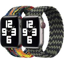 Girovo 2 Packs Solo Loop Strap Compatible with Braided Sport Apple Watch Band 38mm 40mm, Soft Stretchy Braided Wristband for iWatch Series 1/2/3/4/5/6/SE, Black Green & Rainbow, M