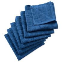 """DII Cotton Terry Windowpane Dish Cloths, 12 x 12"""" Set of 6, Machine Washable and Ultra Absorbent Kitchen Bar Towels-Solid Blue"""