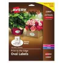 "Avery Oval Labels for Home Organization, 1.5"" x 2.5"", 180 Glossy White Labels (22804)"