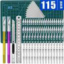 115Pcs Exacto Knife Upgrade Precision Carving Craft Knife,Hobby Knife,Exacto Knife Kit,100 Spare Exacto Knife Blades for Art, Scrapbooking,Stencil