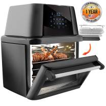 NutriChef PKAIRFR96 1800W High Power Air Fryer Plus Food Dehydrator And Rotisserie Oven Combo-17+ Quart, (L x W x H): 11.8'' x 9.8'' x 7.5'', Black