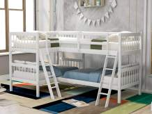 P PURLOVE Twin Over Twin Bunk Bed L-Shaped Bunk Bed Twin Size Wood Bed Frame for Kids/Teens, No Box Spring Needed