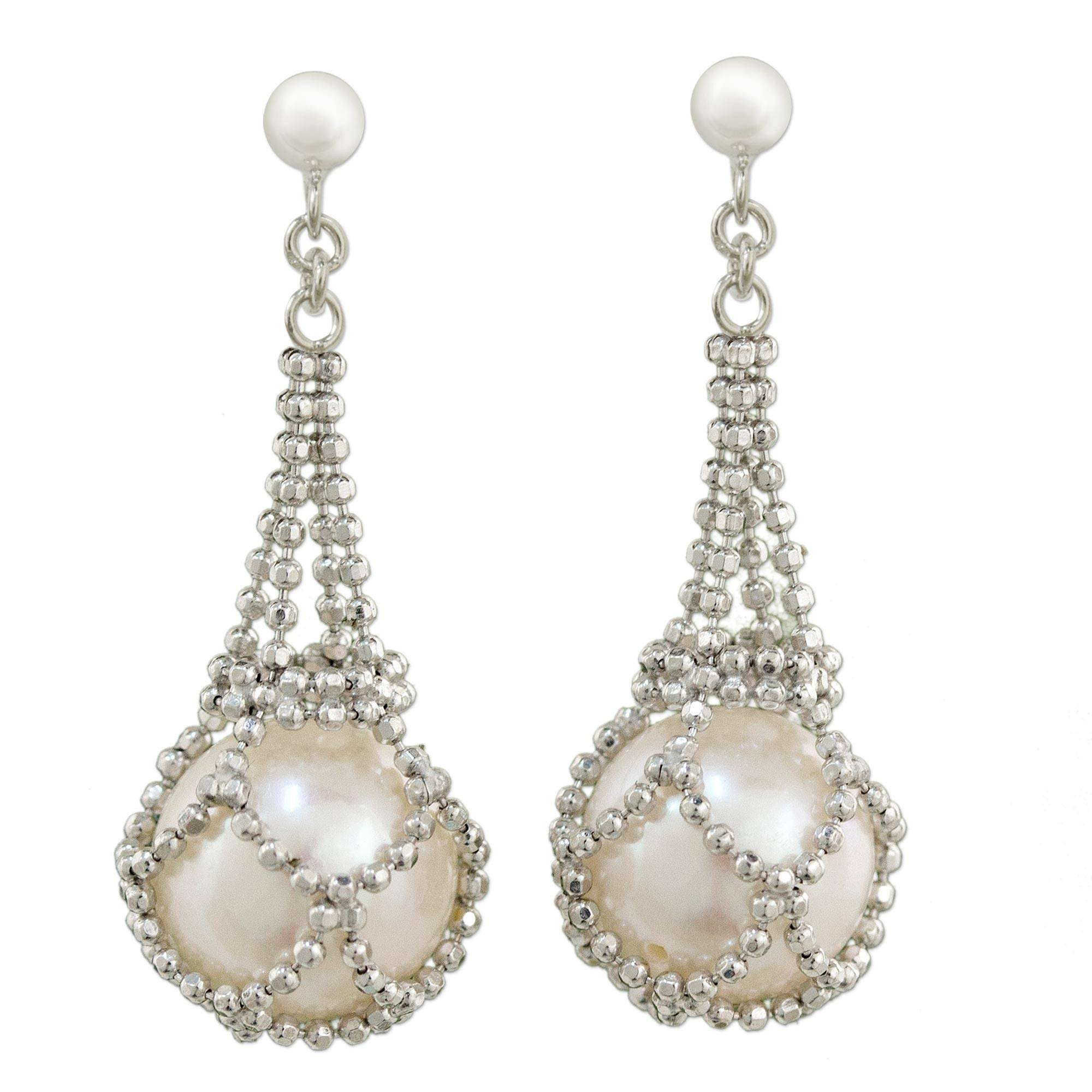 NOVICA White Cultured Freshwater Pearl .925 Sterling Silver Chandelier Earrings, Lily Dewdrop'