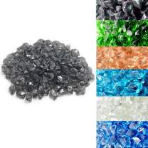 Skyflame 10-Pound Polygon Fire Glass for Fire Pit Fireplace Landscaping,1/2-inch, Translucent Gray with a hint of Blue-Green Light
