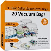 Everyday Home 83-78 Vacuum Storage Bags-Space Saving Air Tight Compression-Shrink Down Closet Clutter, Store and Organize Clothes, Linens, Seasonal Items, 20 Set