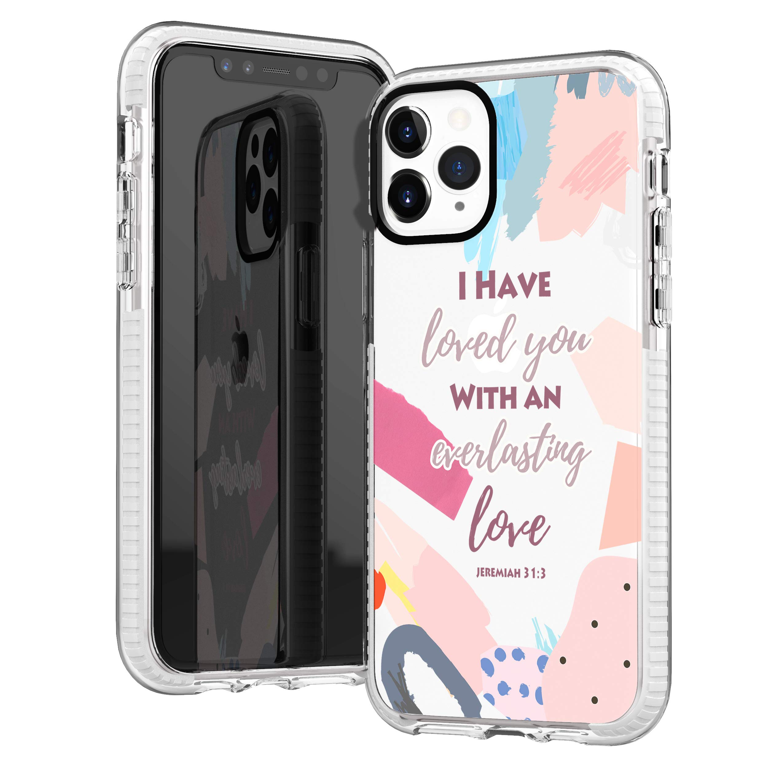 iPhone 11 Pro Max Case,Girls Women Trendy Cute Pink Abstract Graphic Painting Bible Verses Christian Inspirational Motivational Quotes Soft Protective Clear Case Compatible for iPhone 11 Pro Max