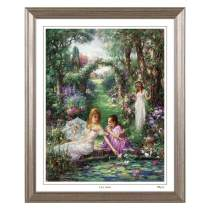 Cao Yong Print Artwork - Licensed Copy of CAO Youg Masterpiece - Lily Pond. Decorative Painting with Solid Wood Frame, Wall Art Decor Poster for Home and Office