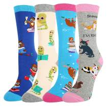 Happypop Women Girls' Funny Reading Books Cute Sloth Cat Socks, Crazy Animals Socks