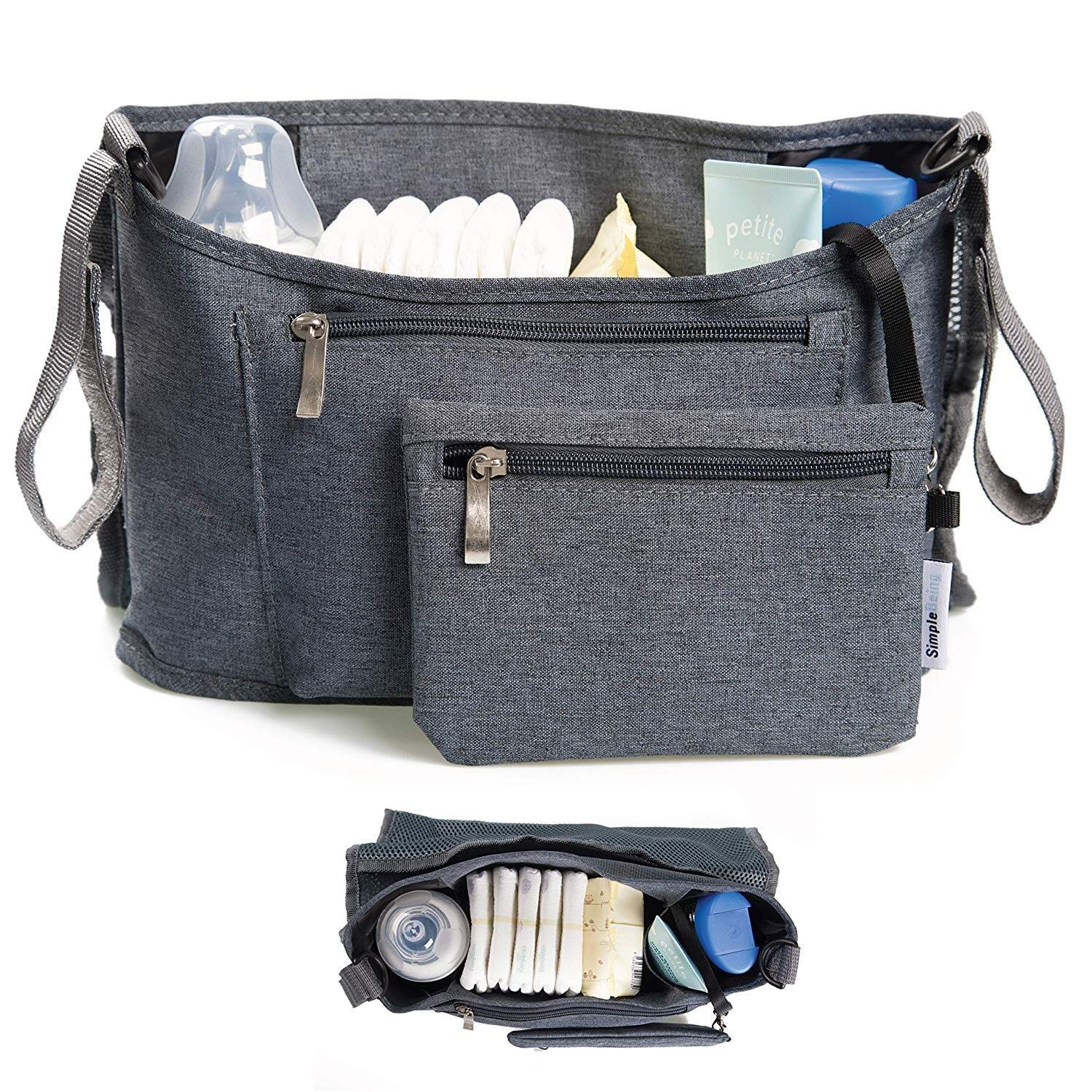 Simple Being Baby Stroller Organizer, Universal Fit Storage Compartments Travel Accessories Bag (Black)
