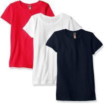 Girl's Casual Basic Lightweight Short Sleeve Crew Neck T Shirt Tee (Pack of 3)