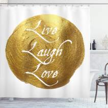 """Ambesonne Live Laugh Love Shower Curtain, Inspirational Words Life Message on a Big Color Spot Modern Design, Cloth Fabric Bathroom Decor Set with Hooks, 75"""" Long, White Gold"""