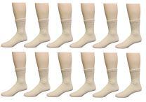 Diabetic Crew Socks - Regular and Extra Wide sizes - 12 Pack (Dozen) - for Men & Women