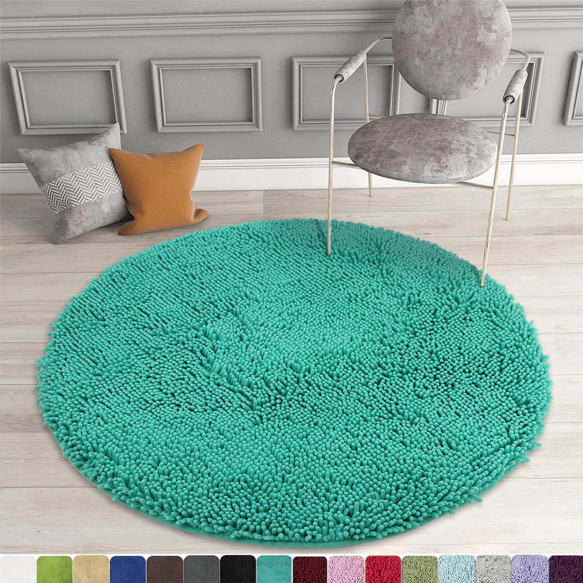 Picture of: Mayshine Round Bath Mat Non Slip Chenille 3 Feet Shaggy Bathroom Rugs Extra Soft And Absorbent Perfect Plush Carpet For Living Room Bedroom Machine Wash Dry Turquoise