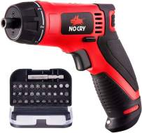 NoCry 10 N.m Cordless Electric Screwdriver - with 30 Screw Bits Set, Rechargeable 7.2 Volt Lithium Ion Battery and a Built-In LED Light