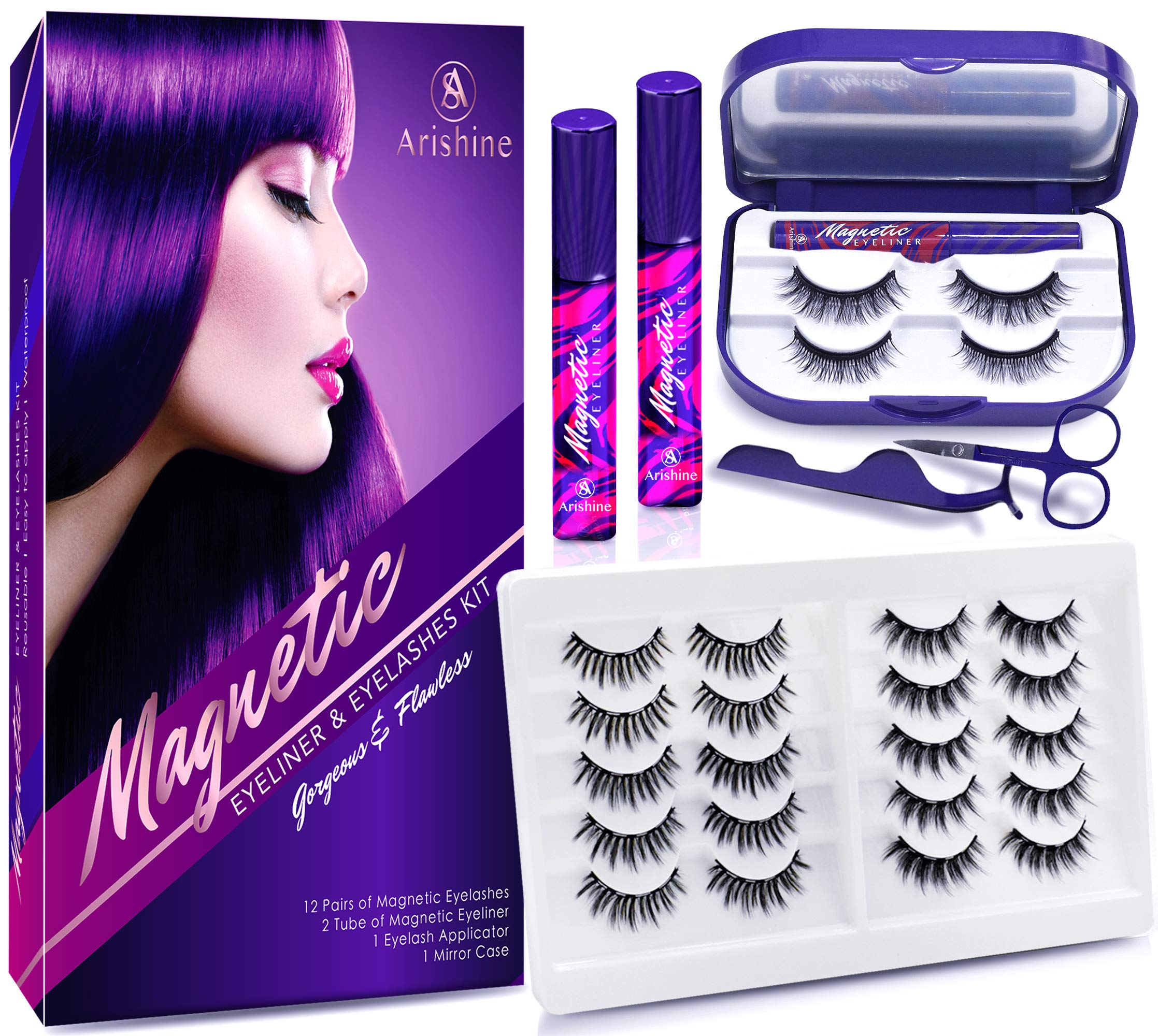 Arishine 3D 5D Magnetic Eyelashes with Eyeliner Kit, 10-Pair Reusable Fluffy Magnetic Lashes, 2 Pair Natural magnetic Eyelashes with 2 Tubes of Magnetic Eyeliner with Scissors Tweezers & Mirror Case
