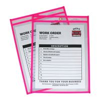 C-Line Neon Stitched Shop Ticket Holders, Pink, Both Sides Clear, 9 x 12 Inches, 15 per Box (43919)