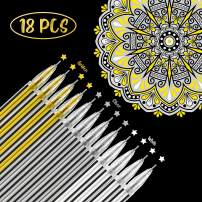 18 Pieces Gel Ink Pens Highlight Drawing Art Design Supplies 0.5 mm Pens for Black Paper Drawing Sketching Illustration Journaling Wedding Invitations and Adult Coloring Book (White, Gold, Silver)