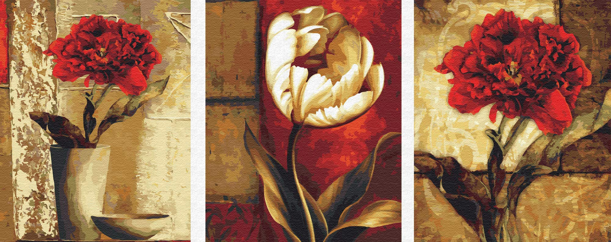 YXQSED Pack of 3 [Wooden Framed] DIY Oil Painting Paint by Number Kit for Adults Kids Students Beginner Canvas with Brushes and Acrylic Pigment -Retro Flowers 16x20 inch