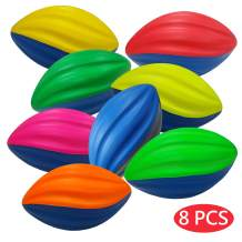 Macro Giant 6 Inch Foam Football / 5 Inch Foam Spiral Football, Set of 8, Assorted Colors, Kid Ball, Training Practice, Playground, Preschool, Parenting Activity, Toy Gift, Business Stuff