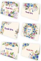 PETANI Thank You Cards Wedding, 48 Floral Thank You Notes, Kraft Envelopes Plastic Box, 6 Assorted Watercolor Thank You Cards for Christian Funeral, Bridal or Baby Shower, Business Greetings (Multi)