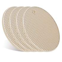 4 Pcs Trivets for Hot Pots and Pans, Kitchen Heat Resistant Silicone Trivet, Extra Thick, Large, Non Slip (Beige)