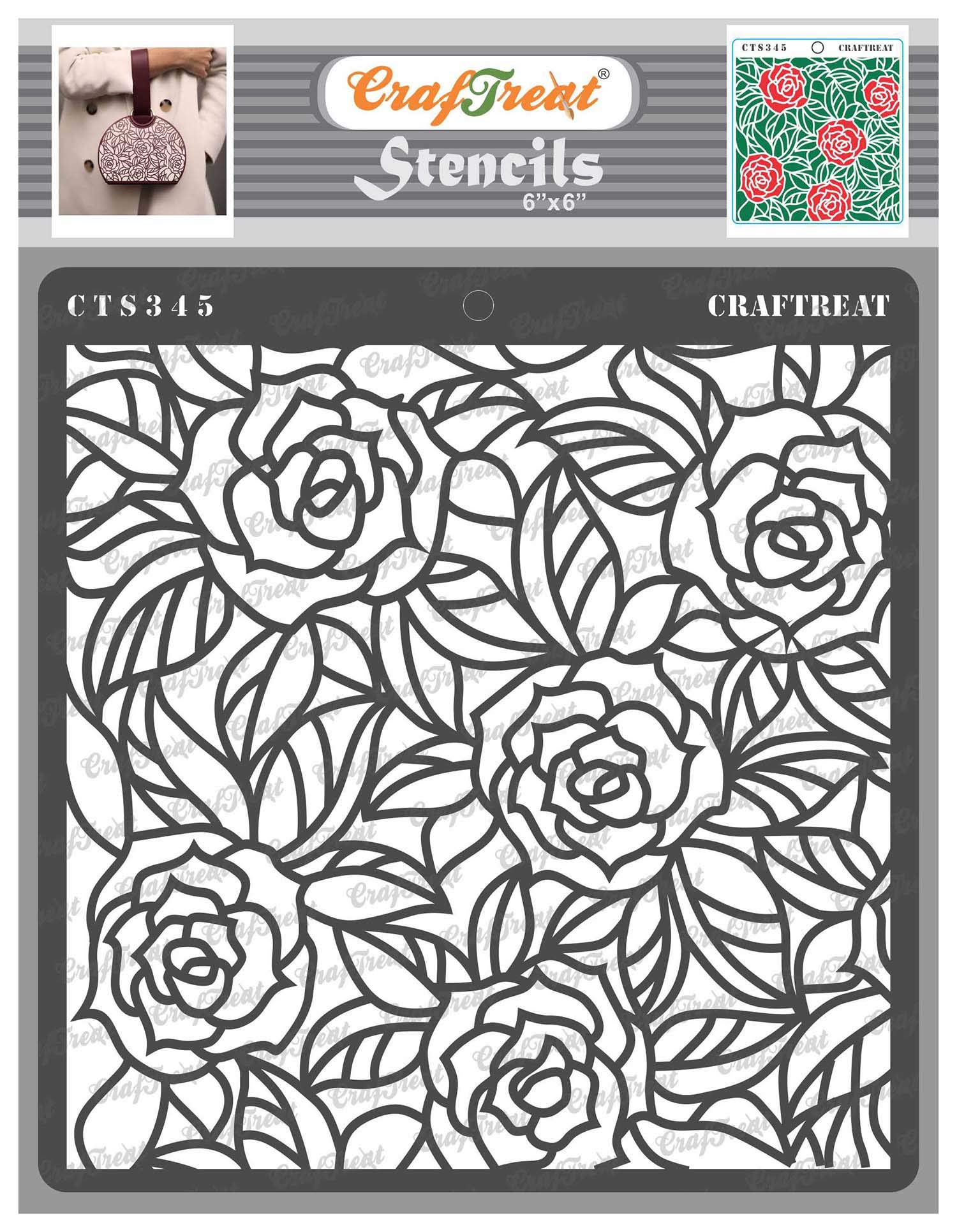 CrafTreat Rose Flower Stencils for Painting on Wood, Canvas, Paper, Fabric, Floor, Wall and Tile -Rose with Leaf Background - 6x6 Inches - Reusable DIY Art and Craft Stencils for Painting Flowers