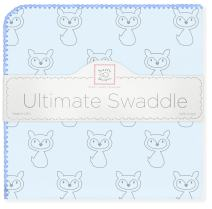 SwaddleDesigns Ultimate Swaddle, X-Large Receiving Blanket, Made in USA, Premium Cotton Flannel, Gray Fox with Blue Trim (Mom's Choice Award Winner)