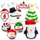 GROBRO7 6 Pcs Christmas Squishy Toys Christmas Claus Snowman Penguin Christmas Tree Kawaii Cute Slow Rising Cream Scented Squishies Stress Relief Decompressive Toys