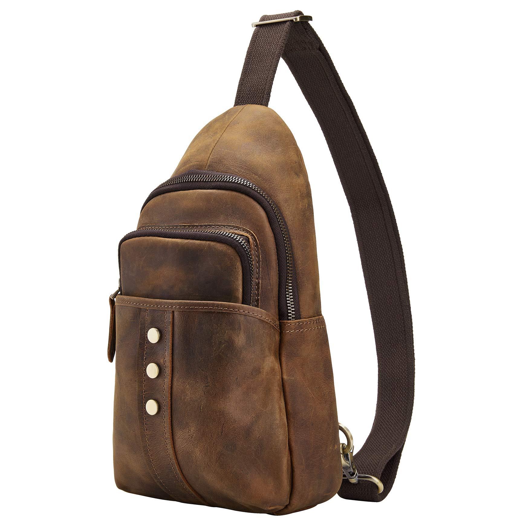 BRASS TACKS Leathercraft Men's Sling Bag Genuine Leather Chest Shoulder Backpack Water Resistant Travel Crossbody Bag (Brown)