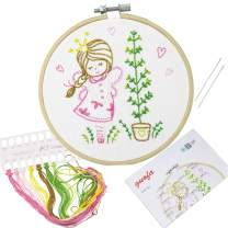 Full Range of Handmade Embroidery Starter Kit with Various Patterns Including Embroidery Hoop, Embroidery Cloth, Color Threads, Neddle and Instruction for Beginners (511187)