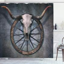 """Ambesonne Barn Wood Wagon Wheel Shower Curtain, Wild West Themed Design with Bull Skull on Cart Wheel Scratched Wall, Cloth Fabric Bathroom Decor Set with Hooks, 84"""" Long Extra, Cadet Blue"""