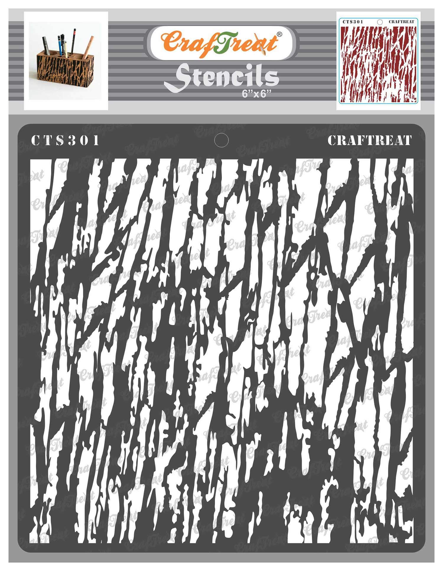 CrafTreat Wood Decor Stencils for Painting on Wood, Canvas, Paper, Fabric, Floor, Wall and Tile - Tree Bark - 6x6 Inches - Reusable DIY Art and Craft Stencils - Tree Bark Stencil