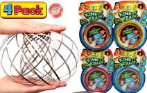 JA-RU Kinetic Flow Ring Sensory Toys Stainless Steel Stress Relief Toys (Pack of 4) Sensory Rings Metal Slinky Fidget Bracelet Arm Slinky Spiral Bracelet Party Favor | Item #785-4p