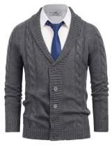 Paul Jones Men's Shawl Collar Knitwear Aran Cable Knit Cardigan Sweater
