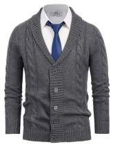 PJ PAUL JONES Mens Casual Shawl Collar Cardigan Sweater Button Down Cable Knit Sweaters