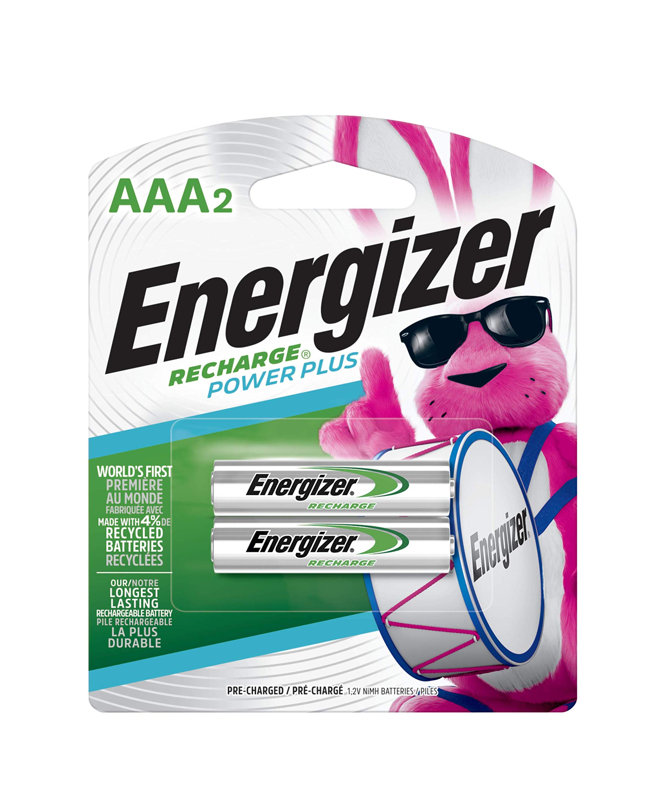 Energizer Rechargeable AAA Batteries, NiMH, 2300 mAh, Pre-Charged, 2 Count (Recharge Power Plus)