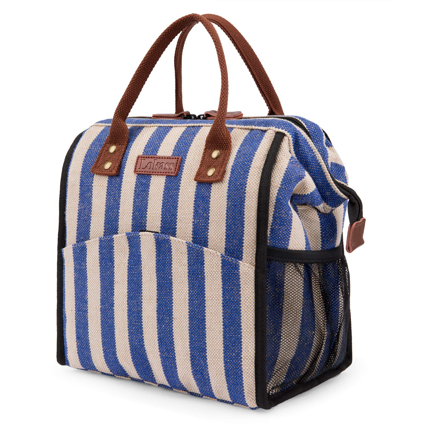 LOKASS Lunch Bag Cooler Bag Women Tote Bag Insulated Lunch Box Water-resistant Thermal Lunch Bag Soft Water-resistant Lunch Bags with wide-open for women (Stripe)
