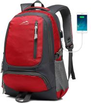 Backpack for School Bookbag College Student Business Travel with USB Charging Port Fit Laptop Up to 15.6 Inch(B) (Red)
