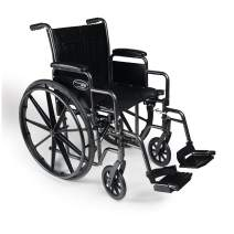 "Everest & Jennings Traveler SE Wheelchair, Detachable Desk Arms & Swingaway Footrests, 16x16"" Seat, Silvervein Color"