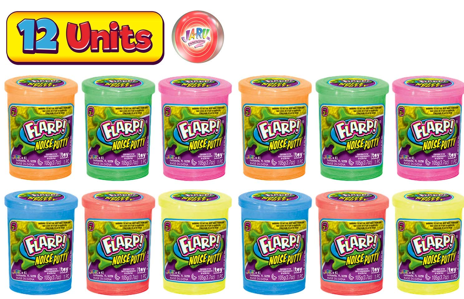 JA-RU Flarp Noise Putty Scented (12 Pack Assorted) Squishy Sensory Toys for Easter, ADHD Autism Stress Toy, Great Party Favors Fidget for Kids and Adults Boys & Girls. Plus 1 Bouncy Ball 10041-12p