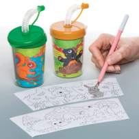 Baker Ross Colour in Woodland Animal Bendy Straw Travel Cup for Kids, Great Colour in Projects for Arts and Crafts Activities for Kids (Pack of 3)