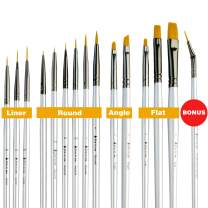 Best Small Miniature Paint Brushes - Detail Paint Brush Set of 14 pcs +1 Free, Tiny Model Paint Brush Set for Face Painting, Fine Detailing - Acrylic Watercolor Oil Paint Supplies