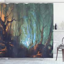 "Ambesonne Mystic Shower Curtain, Whimsical Forest Reflection in Lake Deep Dark Mystical Surreal Illustration, Cloth Fabric Bathroom Decor Set with Hooks, 75"" Long, Brown Teal"