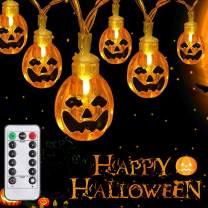 SYIHLON Halloween Decorations Lights with Remote,8 Modes IP65 Waterproof Battery Operated Fairy String Lights for Christmas Bar Outdoor Indoor Halloween Decor (Pumpkin-Warm White)