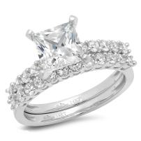 Princess Cut Simulated Diamond Ring 2.86 CT Halo Engagement Wedding Bridal 14K White Gold Rings Cubic Zirconia For Women - Clara Pucci