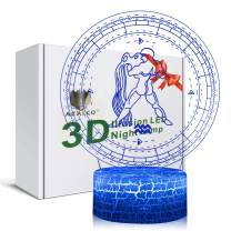 3D Illusion Aquarius The Water Bearer Zodiac Sign Horoscope Night Light Lamp 7 Color Change Touch White Crack Base AZALCO Birthday Present